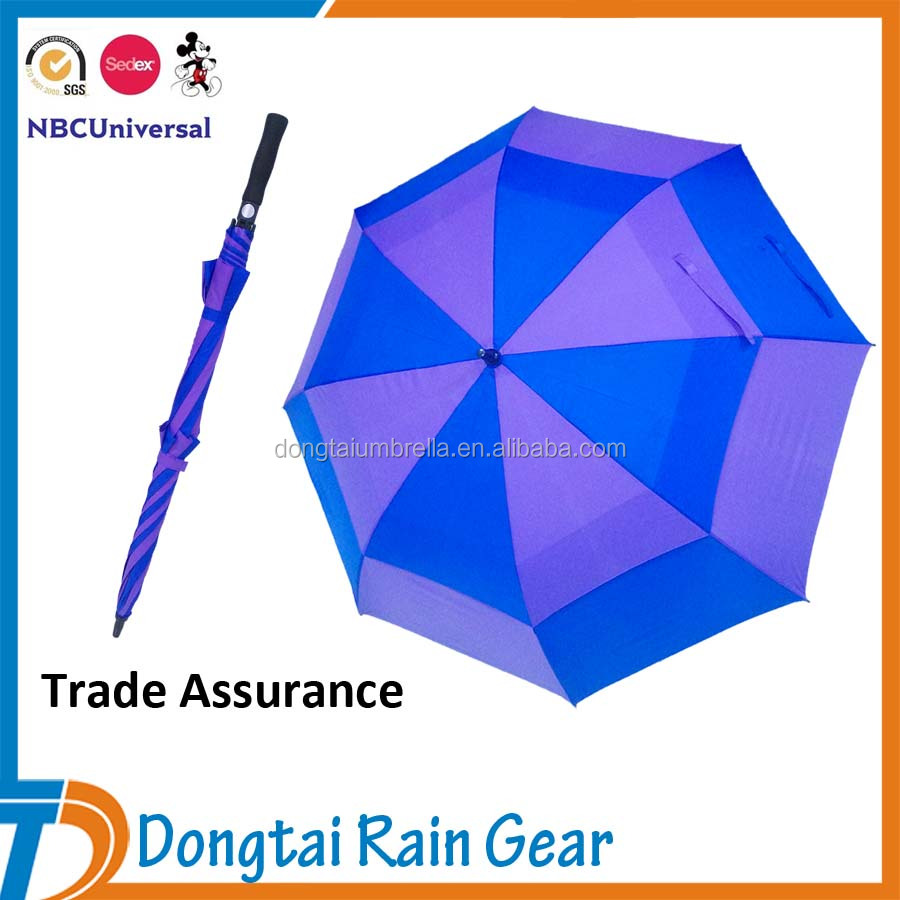 Windproof Golf Umbrella Air Vent High Quality with Fiberglass Frame