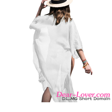 Cheap Pretty White Crinkle Sheer Chiffon Long Kaftan beach wear cover up