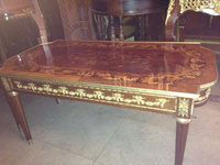 French antique coffee table with marquetry top