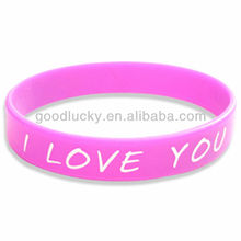 Concave word color cheap custom silicone bracelets