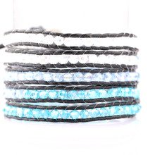 european style resin rhinestone leather cuff bracelet