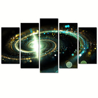 Contemporary Green Galaxy Canvas Wall Art/Outer Space Pictures Giclee Print on Canvas/Abstract Spiral Cosmic Cloud Poster