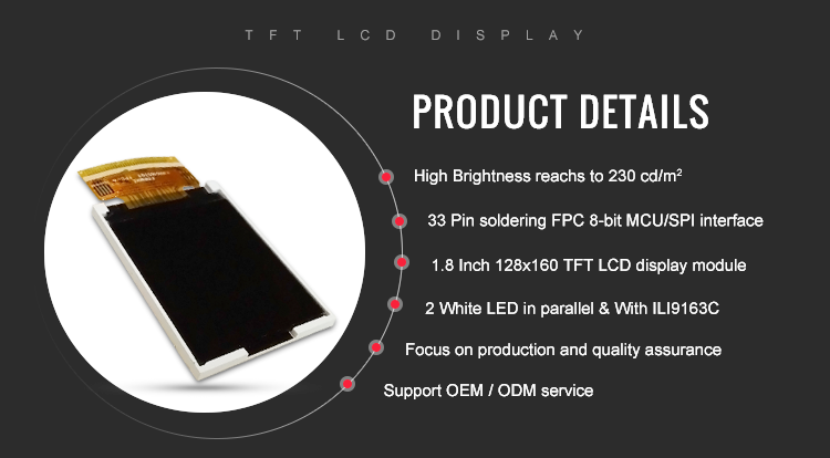 33 Pins LCD Display 128x160 1.8'' TFT Screen For MP3 LCD