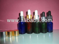 15ml green/blue/brown essential oil bottle with silver/gold electronic aluminum cap ,glass dropper