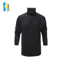custom logo men merino wool shirt half zip long sleeve base layer turtle neck underwear