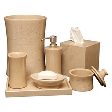 Beige and gray natural stone bathroom accessory, elegant real marble bathroom accessory set