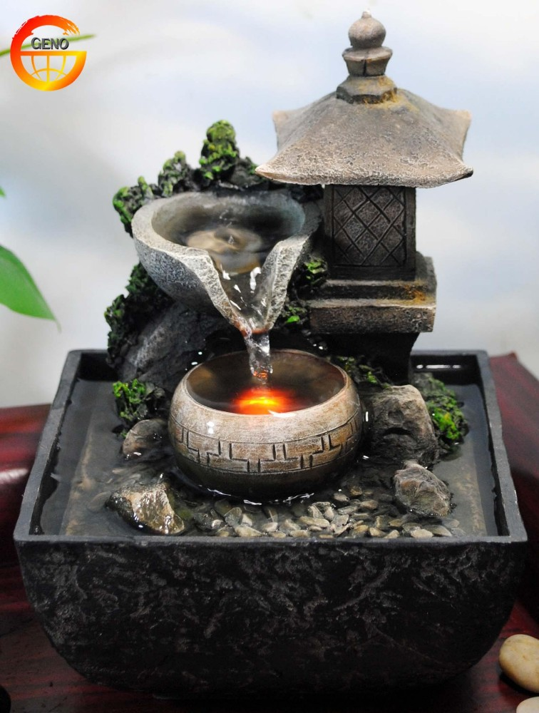 Tabletop water fountain indoor zen relaxation waterfall for Zen garden waterfall