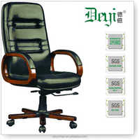 wooden high back manager office chair 6327-B high back black executive office chair with wood armrest