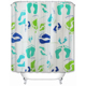 Modern fashion waterproof feet printed shower curtain for children
