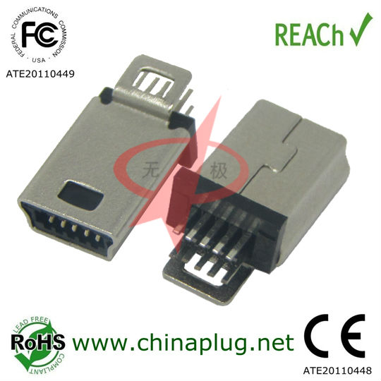 Fashionable USB 10 Pin Lock type 5-pin male mini usb connector