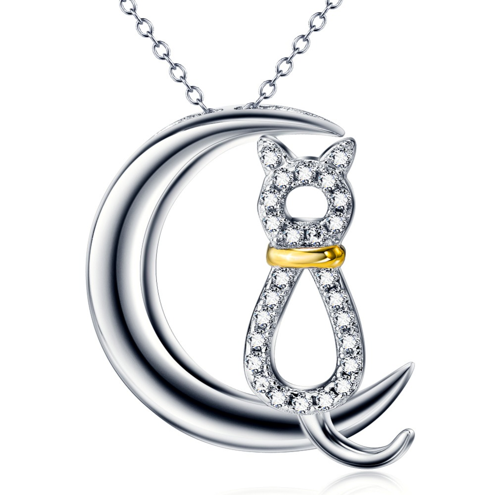 925 silver wholesale moon pendant necklace cat fine jewelry