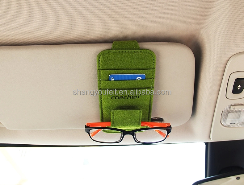 Simple style car visor organizer made of eco felt with low price