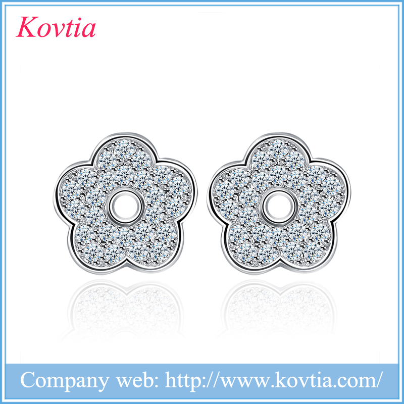 Kovtia New Cubic Zirconia Filled Novelty Jewelry Cute Crystal Flower Stud Earrings Design for Girls