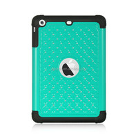 Fashion Design Hybrid Layer Hard Plastic + Soft Silicone With Studded Diamond Case For iPad Mini