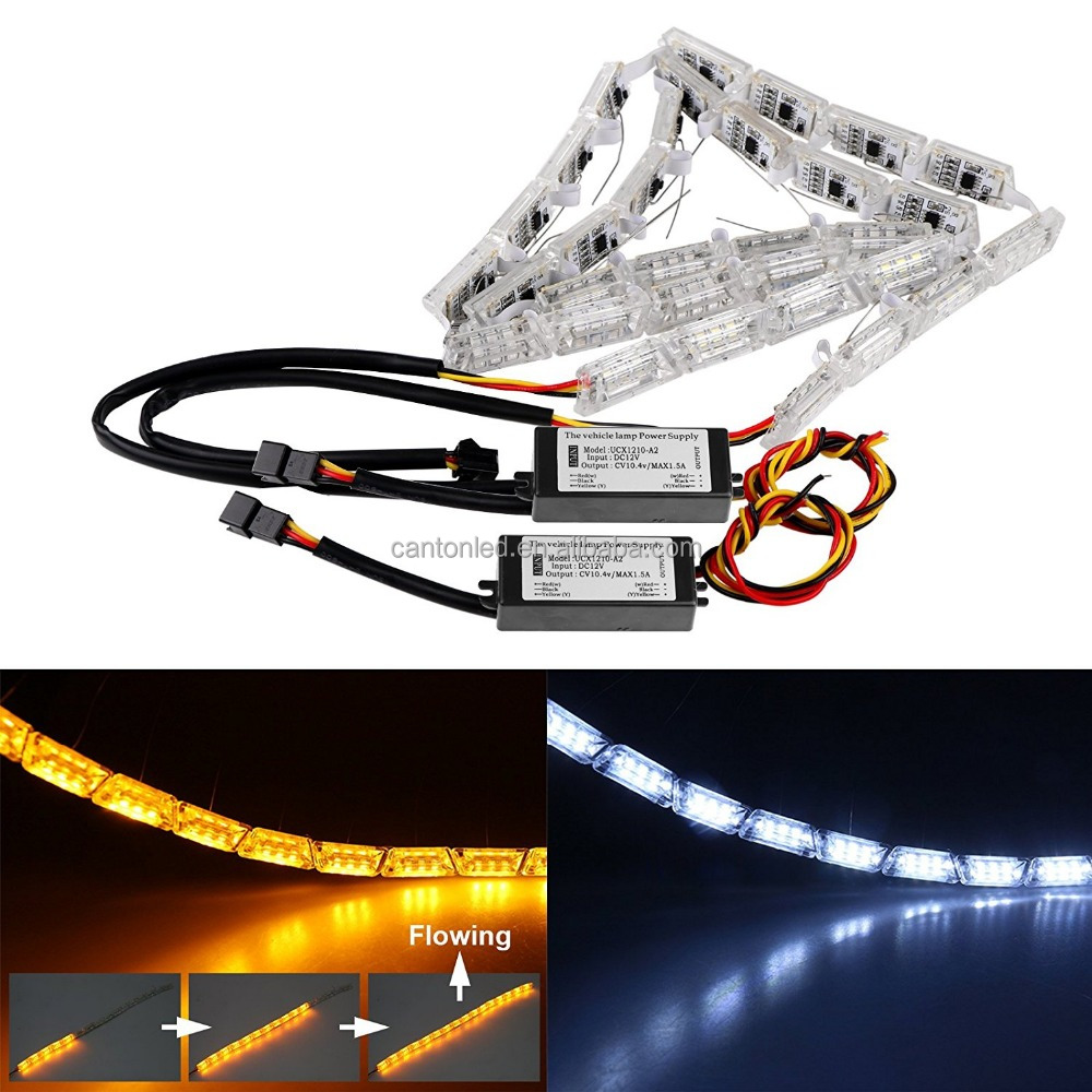LED Daytime Running Light, Car DRL Flowing Turn Singal Light LED Strip Lights Headlight Car Fog Lamp LED White/Amber DRL