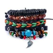 2018 DIY Popular Handmade Angel Wing Jewelry Alloy Leather Charm Bracelet For Men
