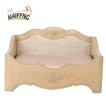 Luxury Good Quality Wood Luxury Square Rattan Pet Bed Cave
