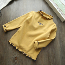 Turtleneck girls long sleeve cotton custom t shirts