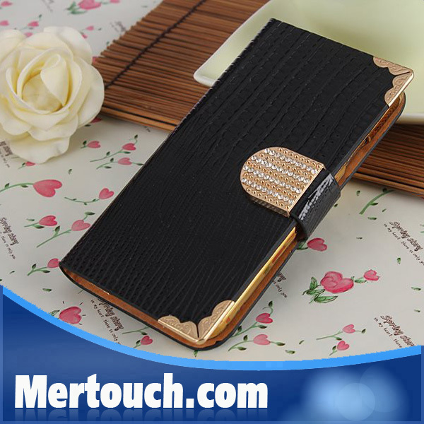 Shining Diamond Smooth Snake Pattern Lizard Grain Wallet Card Slot Leather Phone Case For Samsung Galaxy S3 III I9300