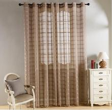 new sheer european style window 80gsm plaid dolly fabric living room curtains and drapes