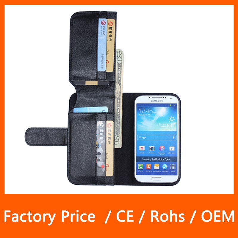 New Business Wallet Stand Design PU Leather Case Cover For Samsung Galaxy S4 S5 S6 With 6 Card Holders Flip Cover