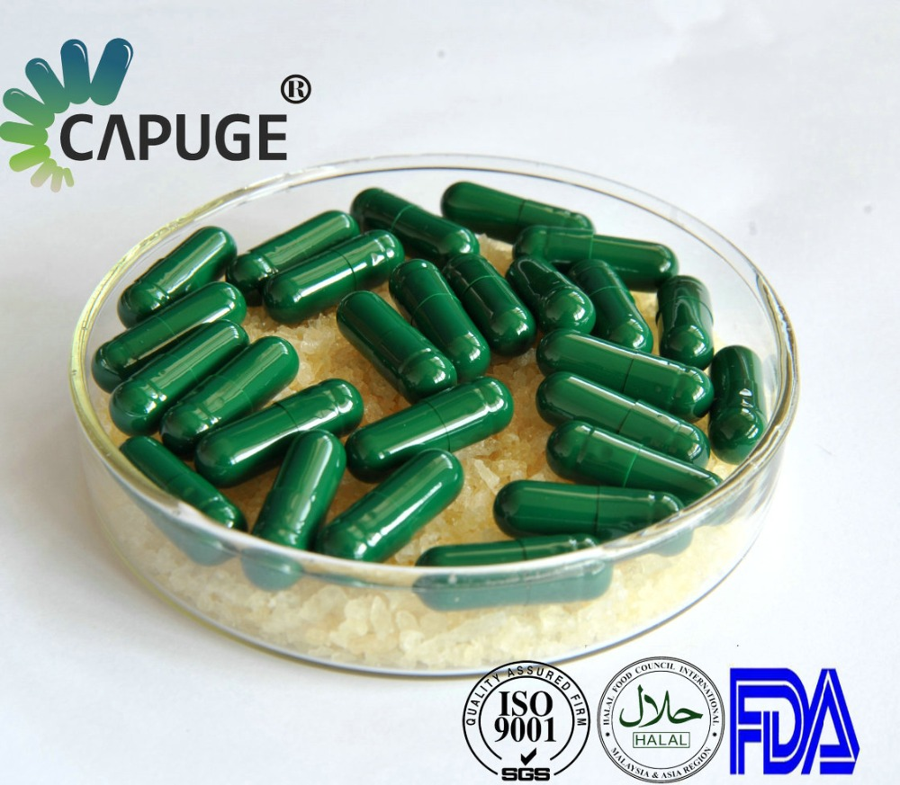 00 1 2 sizes empty vegetable capsules Pullulan capsules for sale green