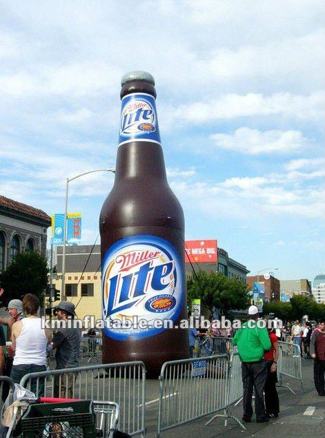 giant inflatable Miller Lite beer bottle