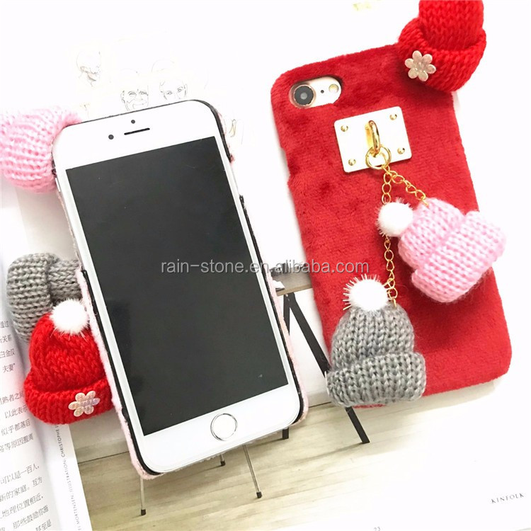 For iphone 6 Cover, Fashion girl Plush Fluffy Rabbit fur Christmas hat mobile phone case
