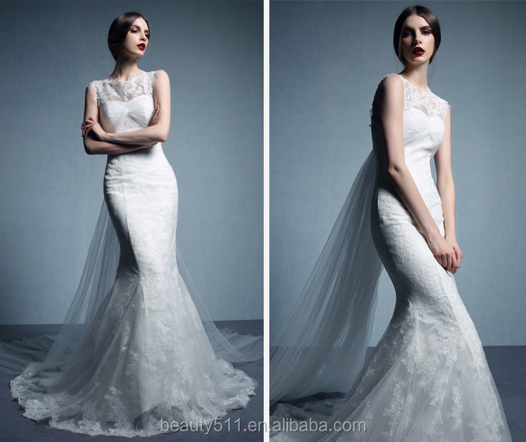 real dress Modern Scoop lace bridal gowns Neckline Sleeveless Floor-length Trumpet Lace wedding dresses