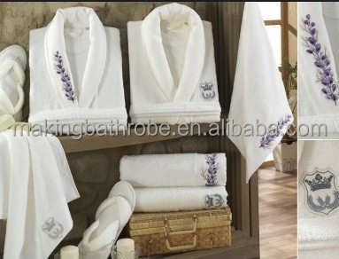 100% cotton terry embroideried bathrobe gift set,Plush Bath Robe and Slipper Set