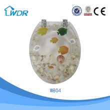 Colorful good soft close blue cushion hot sale hygienic polyresin toilet seat price