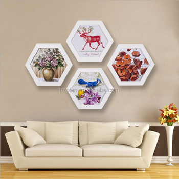 Creative Hexagonal Wall Mounted Wood Picture Frame