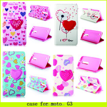 2015 new design !! heart of love pattern case for moto G3 , case for moto G3