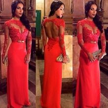 292 Speed to sell through selling the new red dress Long sleeve lace hollow out flowers bow the dress