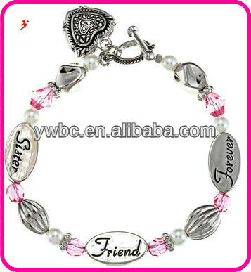yiwu lot imitation jewellery crystal heart sister friend forever bracelet
