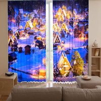 Elegant polyester printed window curtain 3d ideas for living room