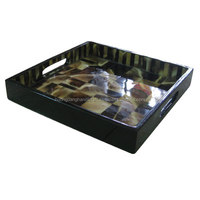 Rectangular tray with lacquer and buffalo horn, elegant desing tray serve hotel, restaurant, home decor