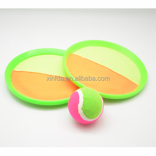 Velcro Toss and Catch Stick Throwing Sports Game Set for Kids with Grip Mitts & Bean Bag Ball