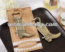 "New Arrival Wedding Gifts ""Just Hitched"" Cowboy Boot Beer Bottle Opener"