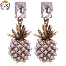 ELX-00591 new pineapple and diamond earrings pineapple earrings lovely fruit shape earrings with squre crystal stud fake pearl
