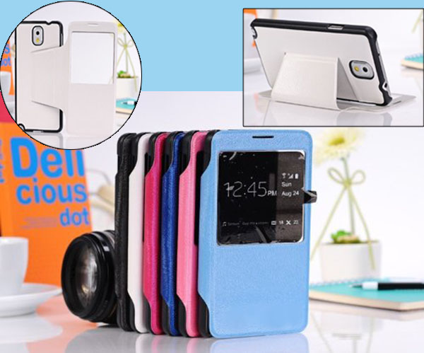 China supplier for Samsung note 3 Leather Flip Case Cover Stand