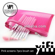 Hotsale! Pink screen 7 pcs brush set fashional makeup brush