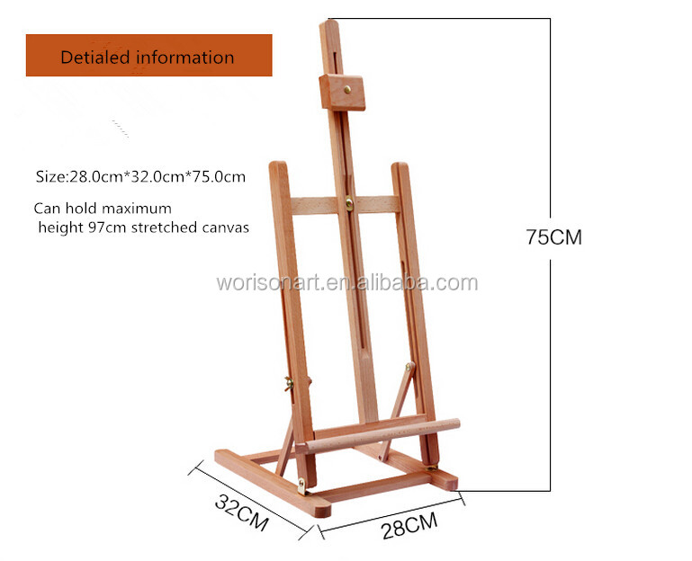 Imported red beech Wooden Easel H desktop display easel oil large desktop folding easel
