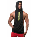 Gyms Vest Custom Logo Men Cotton Hoodie Black Sweatshirts Fitness Bodybuilding Tank Top Men Sleeveless Stringer Tank Top Hoodie