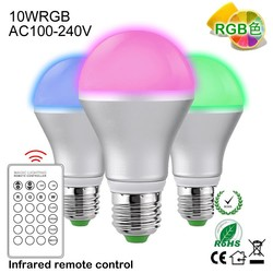 Dimmable A60 RGB LED Bulbs Color Changing 160 Beam Angle 16 Color Choice Remote Controller Included 12v 8w led car bulb