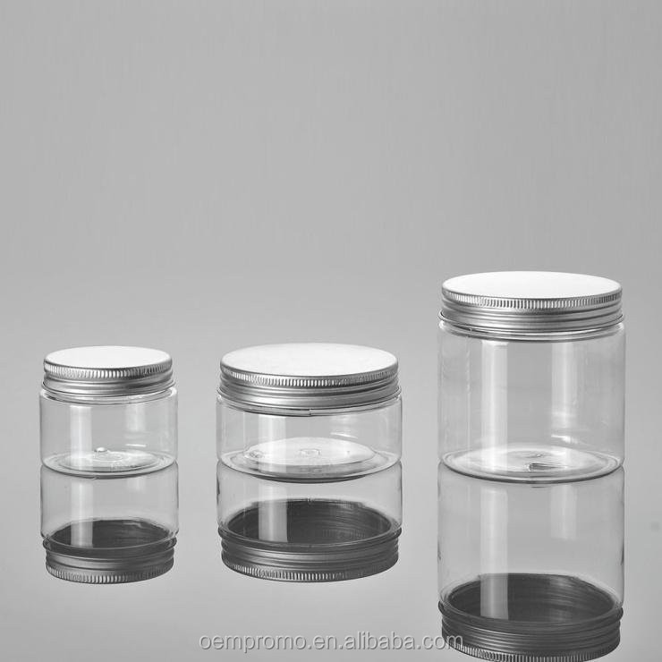 Promo Plastic Cosmetic jars 200g empty container with aluminum cap