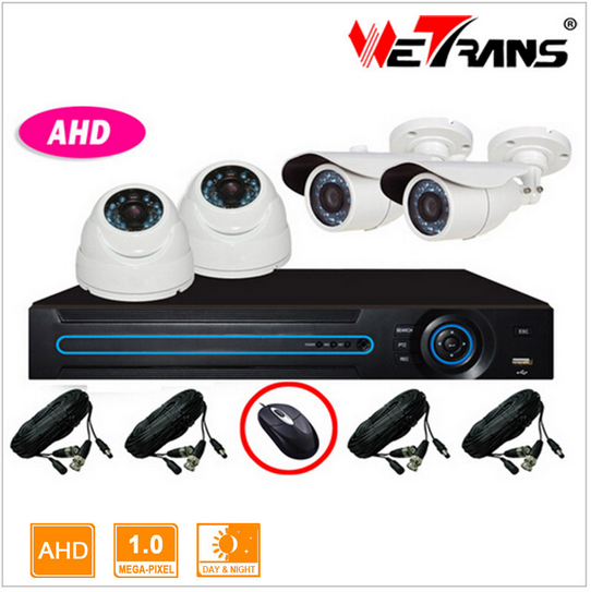 AHD KIT-3404-A 4CH 1280*720P 4 channel surveillance Indoor and Outdoor CCTV Home Security Mobile View DVR Camera <strong>System</strong>