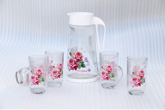 60oz Glass Pitcher with Lid and Drinking Glasses Set - Decorative Jug and Six <strong>12</strong> Oz Glass Cup (Dishwasher Safe)