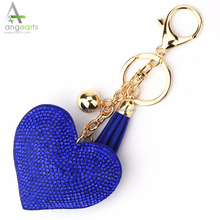 Love Heart Keychain For Women Crystal Beads Key Ring Handbag Pendant Charms Long Tassel Golden Chain Bag Holder Jewelry