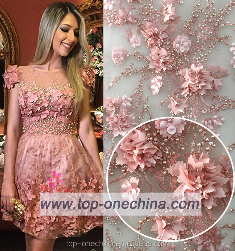 2016 3D lace flower handwork French embroidery lace fabric / Embroidery wedding fabric /bridal beaded 3d flower lace